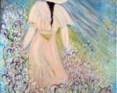 Pastel Garden art print flowers rose light blue peach blush vintage girl romantic