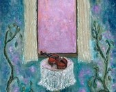 Christmas gift Fine art print  French blue gray violet rose pink  green surreal dreamy