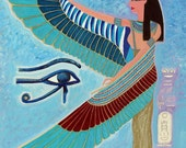 fine art print 8x10 blue Isis green turquoise wings golden dark red