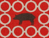 Last Piece - Piglet in Red - ECHINO Japanese Imported Fabric - 3\/4 Yard