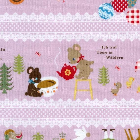Japanese Kawaii Fabric - November Books in Lavender Stripe - Half Yard