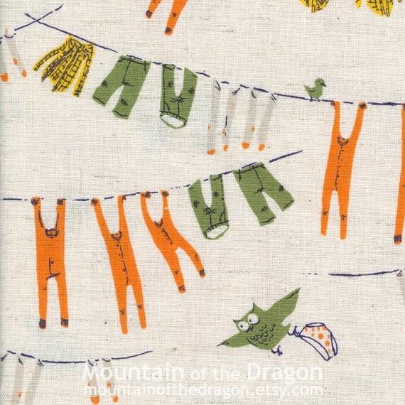 Heather Ross Fabric - Far, Far Away Chapter 3, Clothesline in Green/Orange - Half Yard