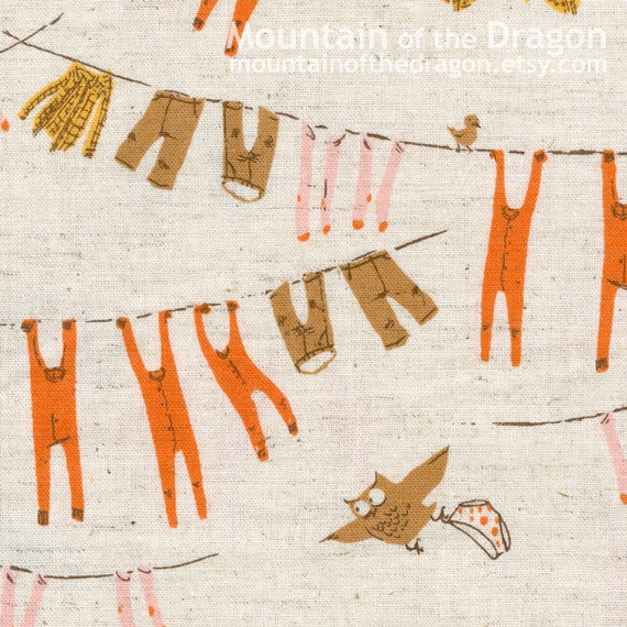 Heather Ross Fabric - Far, Far Away Chapter 3, Clothesline in Pink/Brown - Half Yard