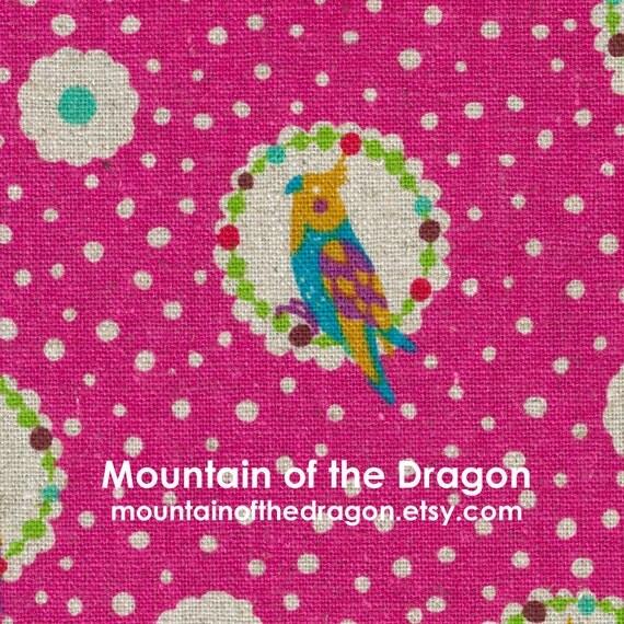SALE - Echino Fabric Fall 2011 - Cockatiel in Magenta Pink by Etsuko Furuya - Last Half Yard