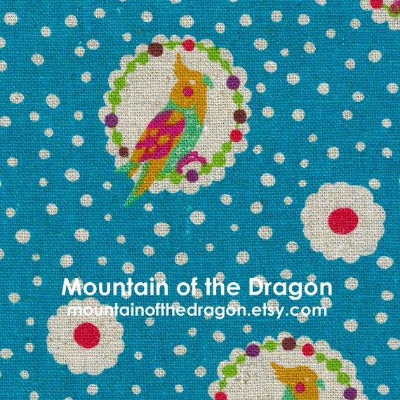 SALE - Echino Fabric Fall 2011 - Cockatiel in Blue by Etsuko Furuya - Last 5/8 Yard