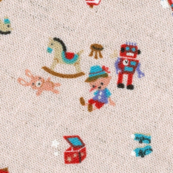 SALE - Pinocchio and Toys in Pale Pink - Japanese Kawaii Fabric - Fat Quarter