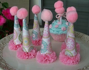 Birthday Decoration Party Hat Cupcake Toppers / Table Decorations for Birthday Party