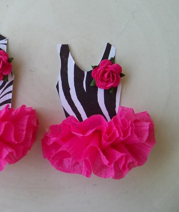 Ballerina Tutu Cupcake Toppers In Zebra Print Set of 6