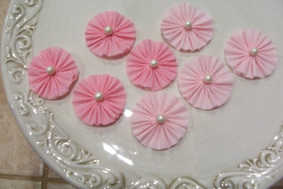 ... Crepe Paper Rosette Embellishments Set of Eight Birthday Decorations