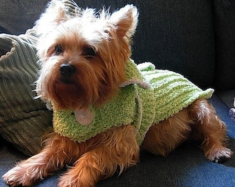 NIGHTY NIGHT Chenille Wrap Dog Bathrobe Knitting Pattern