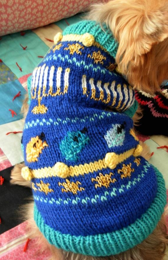 O HANUKKAH Dog Sweater Knitting Pattern Jewish Holiday
