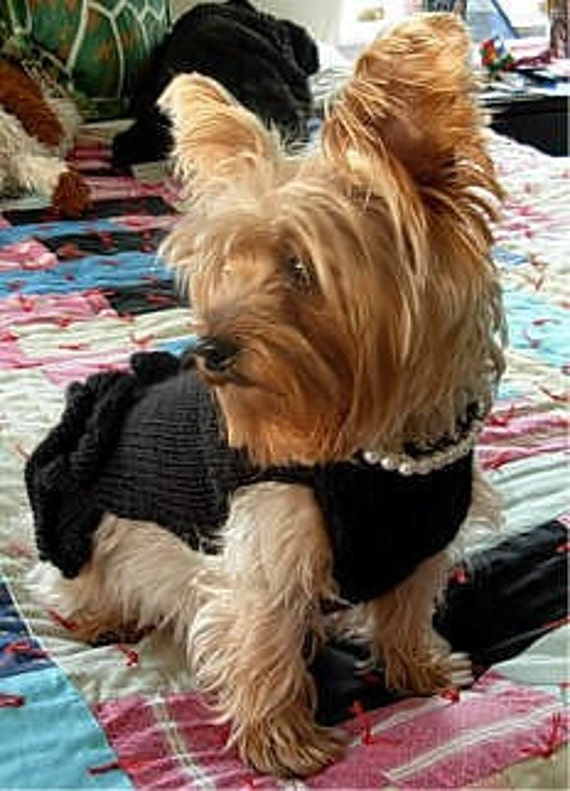 The FAMOUS Little Black Dress With Pearls DOG SWEATER -- Custom -- Hand Made -- All Sizes