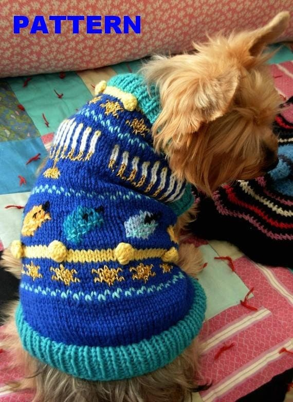 Items similar to o hanukkah dog sweater knitting pattern - Knitting for dogs sweaters ...
