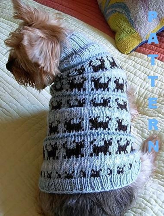 Knitting Pattern For A Small Dog Coat : PUPPIES ON PARADE Fair Isle Dog Sweater Knitting Pattern