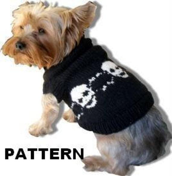 SKULL DOGGERY Dog Sweater Knitting Pattern -- Halloween Punk