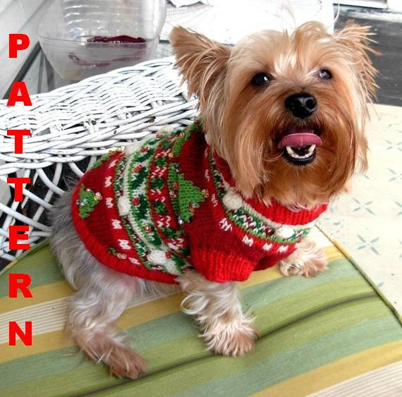 Christmas trees beaded fair isle dog sweater knitting pattern - Knitting for dogs sweaters ...