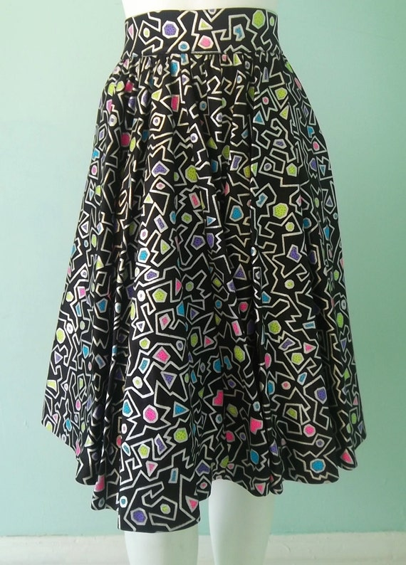 Abstract skirt- hot geometric colors- shimmery silver and black-xs