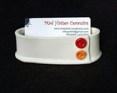 White Red Orange Button Handmade Ceramic Pottery Business Card Holder