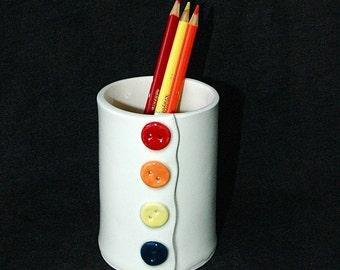 Button Ceramic Pottery Pencil Holder Cup Vase