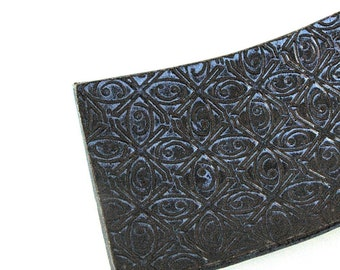 Dark Blue Textured Tin Roof Handmade Ceramic Pottery Soap Dish Plate