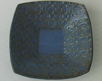 Small Blue Textured Tin Roof Handmade Ceramic Pottery Serving Plate Bowl