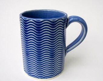 Blue Textured Wavy Handmade Ceramic Pottery Coffee Mug