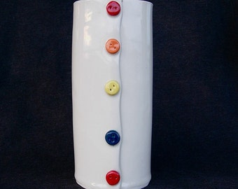 White Colorful Painted Button Handmade Ceramic Pottery Vase