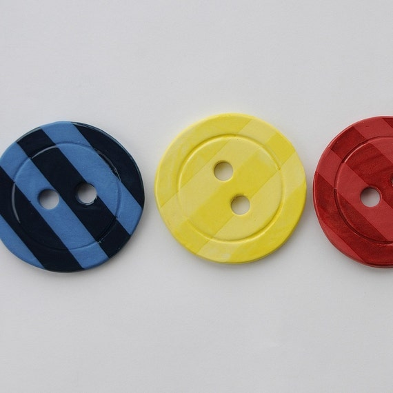 Colorful Painted Button Handmade Ceramic Pottery Serving Coasters Set of 4