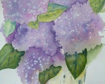 Art. Fine Art-Bushel Basket Hydrangeas- Original Collage and Watercolor of Purple Hydrangea