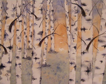 Simple Beauty-Birch Trees- Reproduction of Watercolor Painting