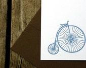 bicycle letterpress printed card