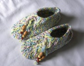 Handmade Slippers Blue yellow pink