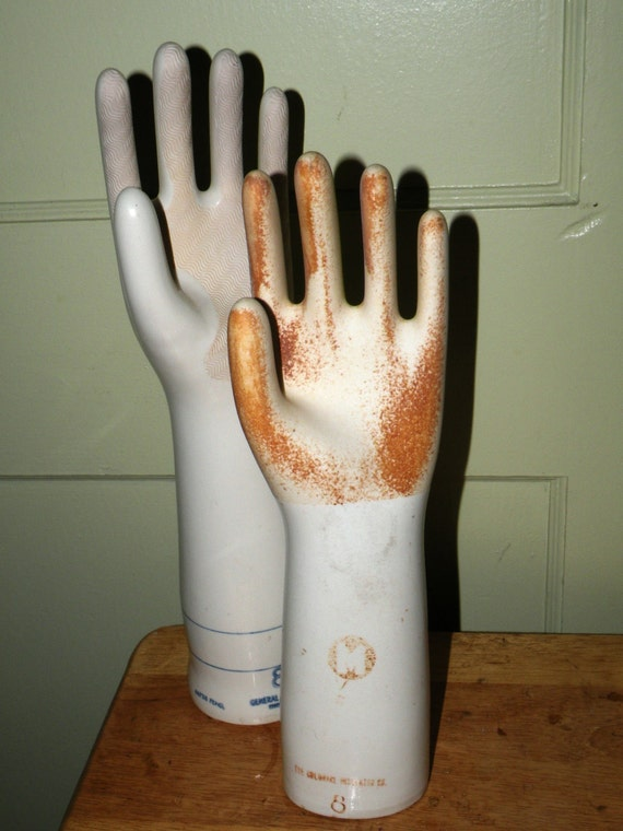 Rare 1950 Industrial Porcelain Glove Mold Colonial Insulator