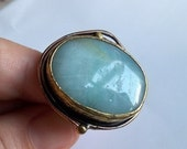 BLUE GREEN AMAZONITE ANTIQUE GOLD PLATED RING BY ANTIQUE STYLE COLLECTION