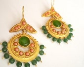 Naturel coral and Green jade earrings