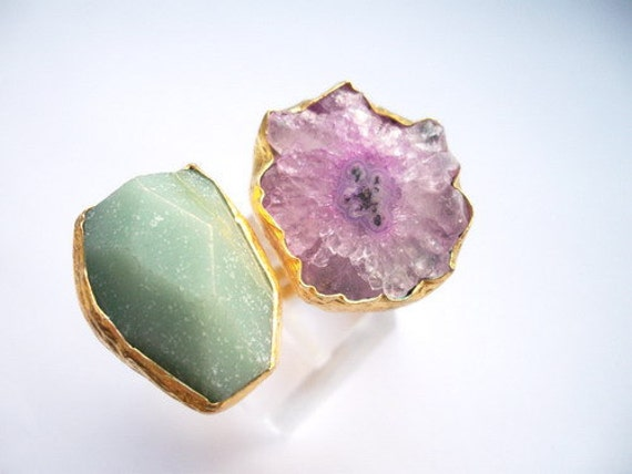 Christmass %20 SALE ------------Jade and Amethyst Dual ring