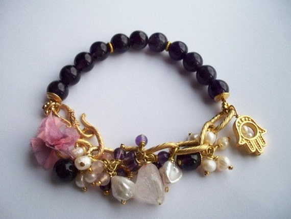 Gold Plated Amethyst and Pearl BRACELET