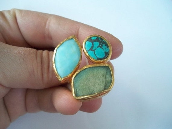 SALE For Your MOTHER-------Triple Gold plated Turquoise and Green Jade RING