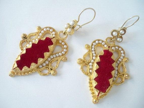 Reserved for butcrup-----Pearl and Red Velvet Earring
