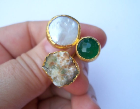 TRIPLE Gold plated  Green agate and Druzy RING