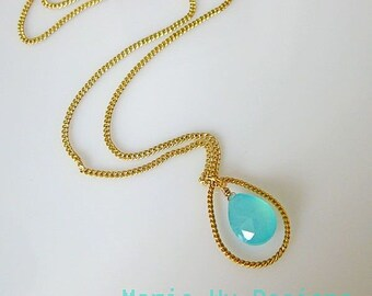 Aqua Chalcedony-16k Gold Plated Pendant Hoop Necklace