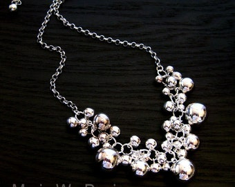 All Sterling Silver Bubble Beaded Charm Necklace