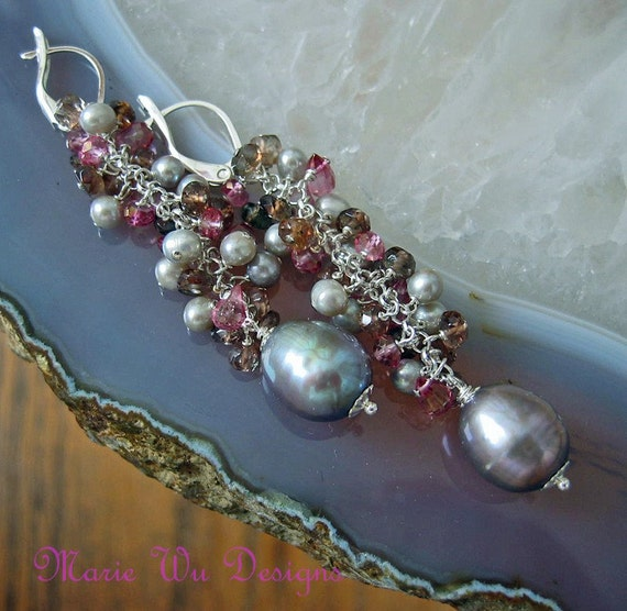 Luxe 13mm Platinum FW Pearl Pink Topaz Andalusite Sterling Silver Cascading Earrings