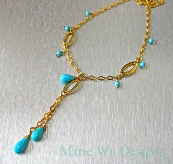 Genuine Sleeping Beauty Turquoise-22k Gold Vermeil Cascade Necklace