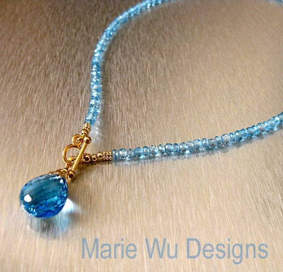 Spellbound-AAA Swiss Blue Topaz-14k Solid Yellow Gold 22ct Pendant Necklace