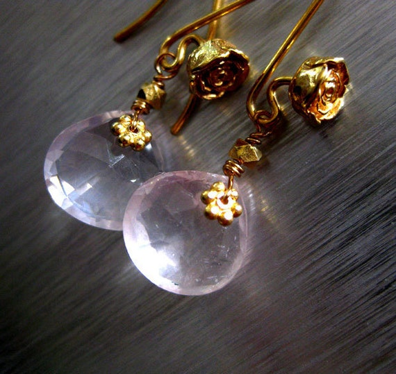 Whisper Sweet Madagascar Rose Quartz-24k Gold Vermeil Blossom Dangle Earrings