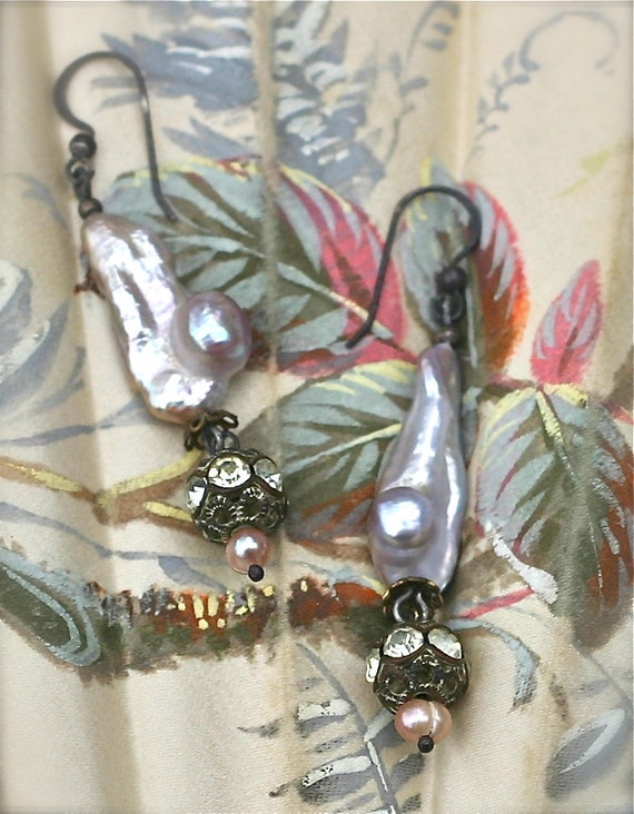 Keshi Beauty-Upcycled Vintage Pearl Earrings Baroque Gypsy Boho
