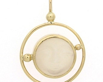 Pendant with moonstone in 14k yellow gold