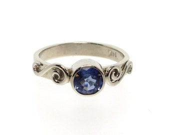 Blue Sapphire In White Gold Ring