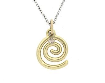 14K Gold Swirl Pendant with small Diamond
